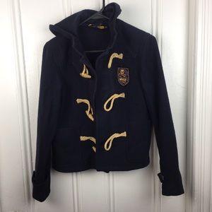 Ralph Lauren Rugby 100% Wool navy tassel coat